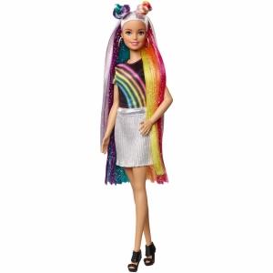 Кукла Барби с радужной мерцающей прической Barbie
